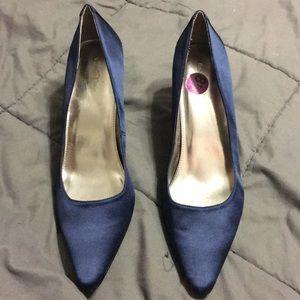 Satin navy blue Calvin Klein heels.